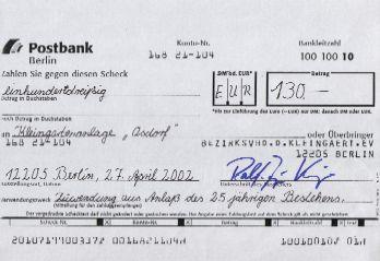 Postbank verrechnungsscheck Postbank: Scheck